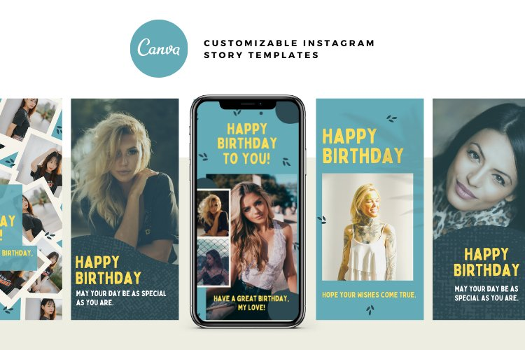 10 Happy Birthday Instagram Stories Canva Templates example 2