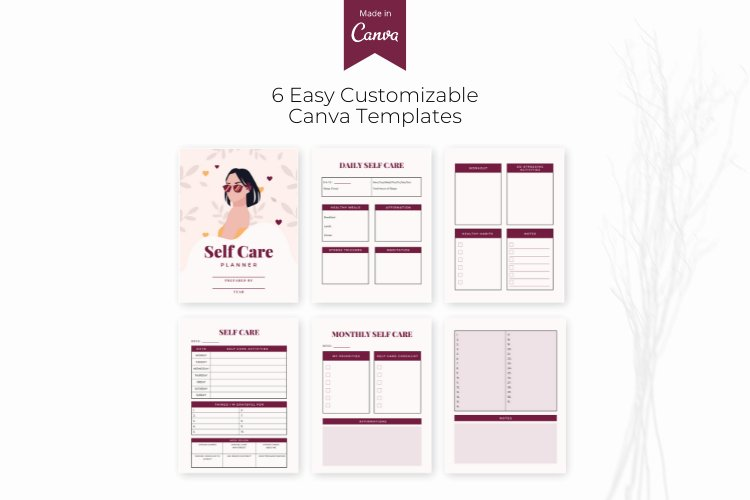 Self Care Planner Canva Templates example 1