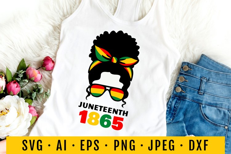 Juneteenth Svg. Black history month. June. Afro messy bun. example image 1