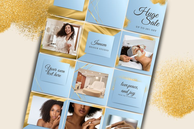 Blue and Gold Instagram Template for Canva