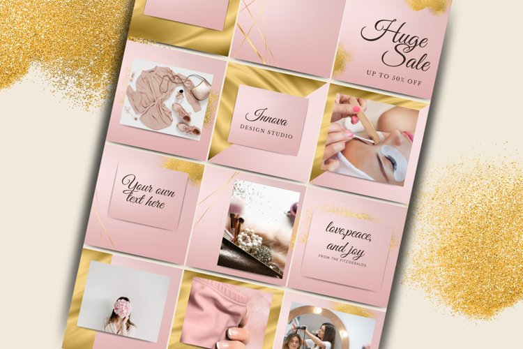 Pink and Gold Instagram Template for Canva.