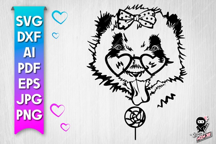 Panda with lollipop cut file. Funny baby animal svg example image 1