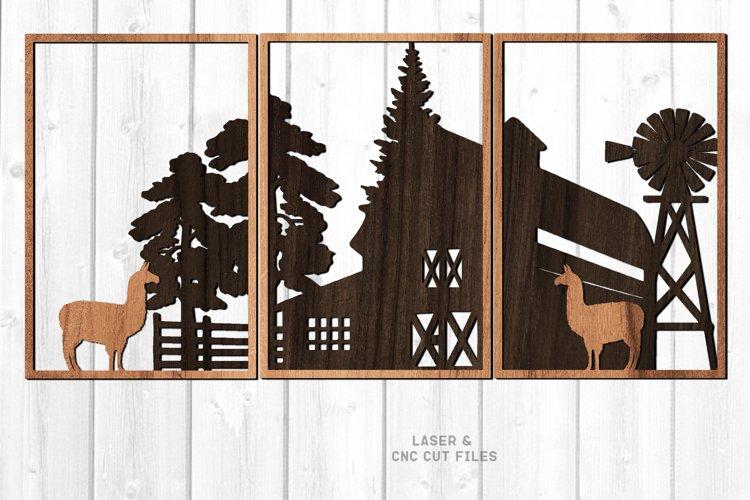 3 Piece Llama Farmhouse Scene SVG Glowforge Laser Files example image 1