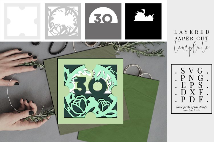 Layered paper cut 30th birthday floral, 3D SVG, bday wreath
