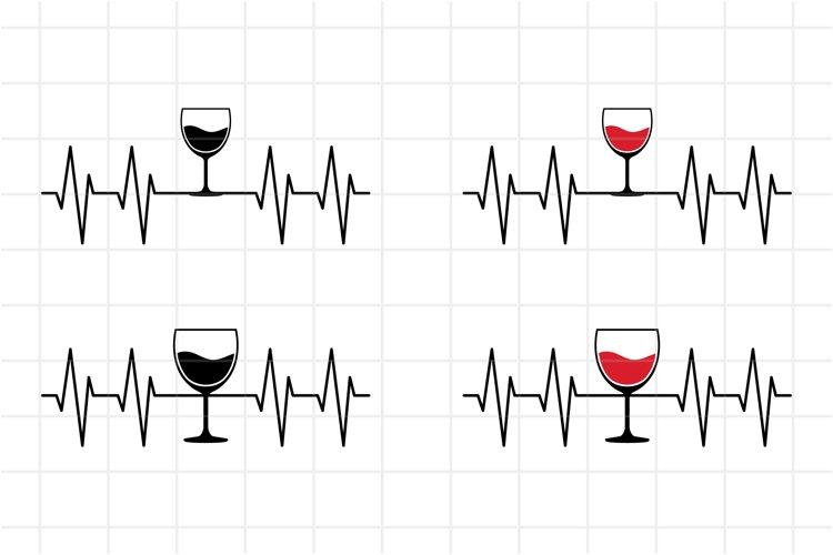 Wine Glass Heartbeat SVG Cut File