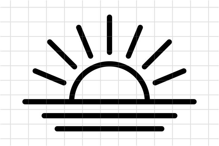 Sunset SVG, sunrise Cut File. Sunburst, Sun and Ocean icon. example image 1