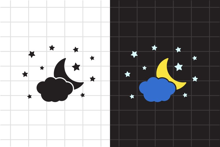 Moon and stars SVG Cut File, Bedtime design. Night icon.