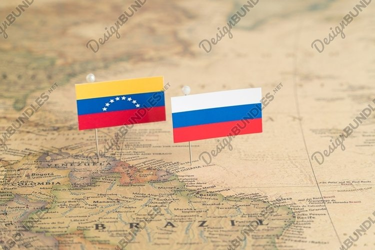 Flags of Russia and Venezuela on the world map. Politics example image 1