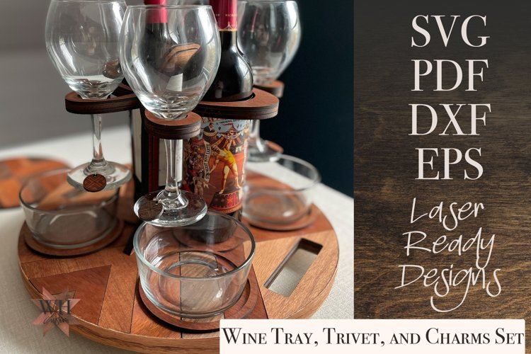 Digital Download - Wine Butler with trivet and wine charms