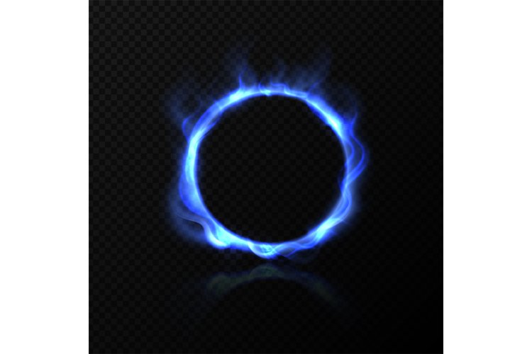 Realistic blue fire circle. Ring of blue fire with shiny fla