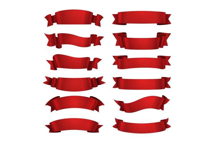 Red ribbon isolated. Realistic illustration glossy decorativ