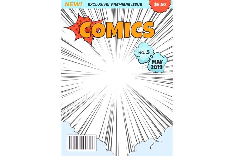 Comics magazine cover. Comic book superhero title. Cartoon p
