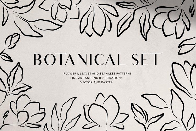 Botanical Set - Leaves and Flowers example image 1