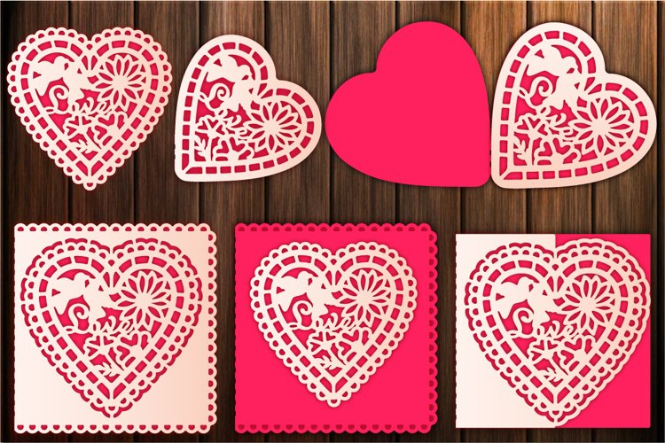 Heart SVG, Valentines Card, Invitation Templates, Papercut