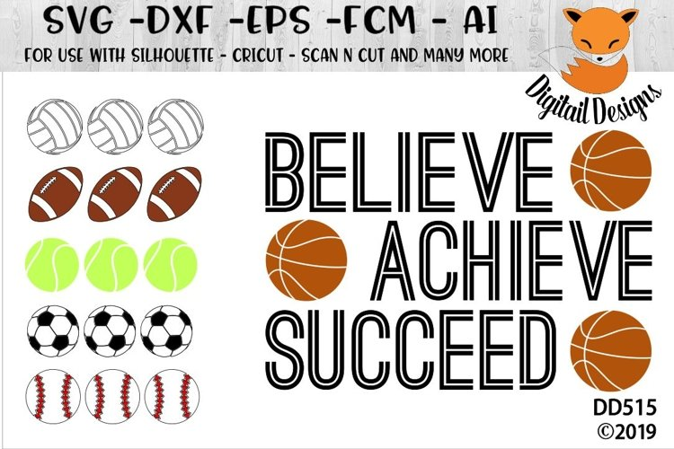 Motivational Sports Balls SVG example image 1