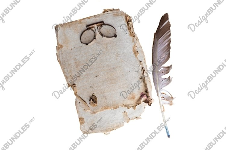 aged sheet of paper with vintage glasses and ink feather pen example image 1