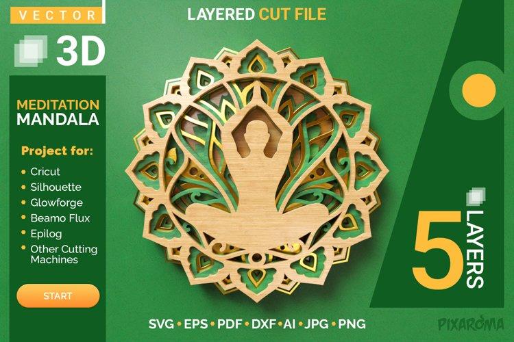 Meditation Mandala 3D Layered SVG Cut File