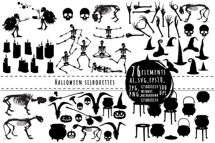 Halloween silhouettes big bundle example image 1