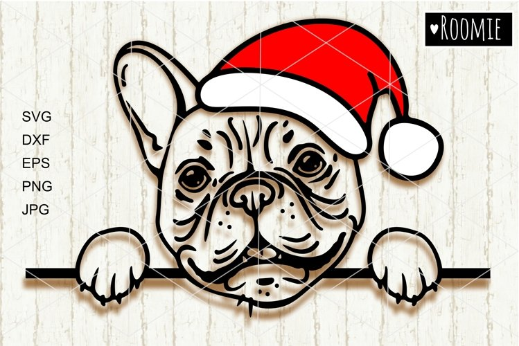French bulldog in Santa hat svg, Frenchie svg file New year example image 1