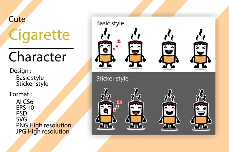 Cute character of cigarettes with sticker and basic style