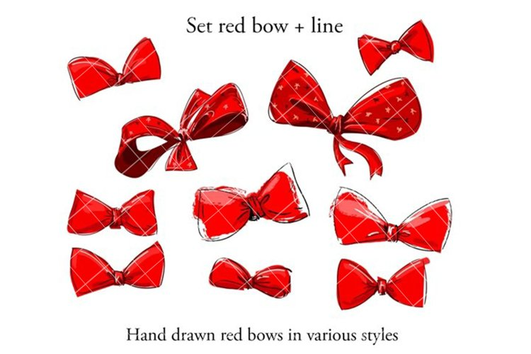 Big Set sketch red bow example image 1