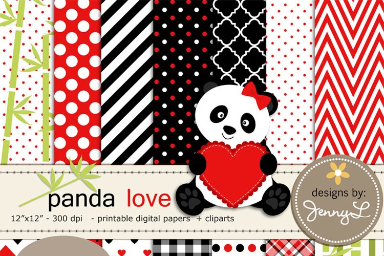 Panda Bear Love Digital Papers and Clipart, Valentine's Day, Stitched Heart, Bamboo Clipart example image 1