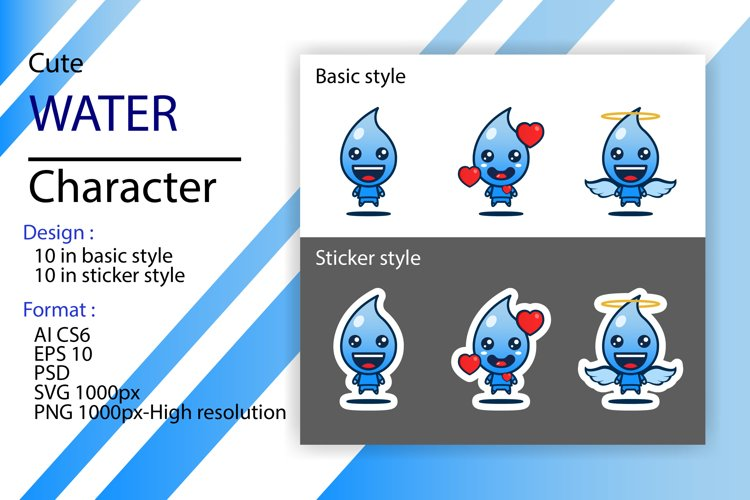 Cute character of water