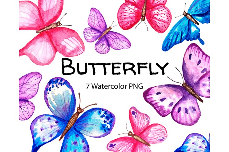 Watercolor butterfly clipart png example image 1
