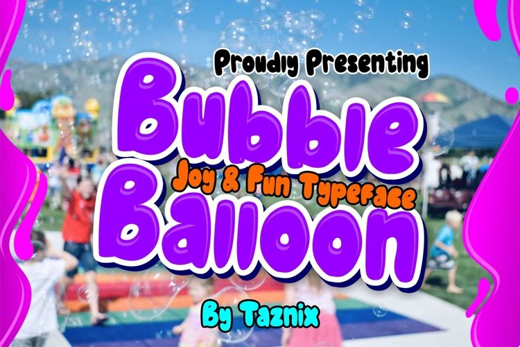Bubble Balloon Bold Fun Children Typeface example image 1