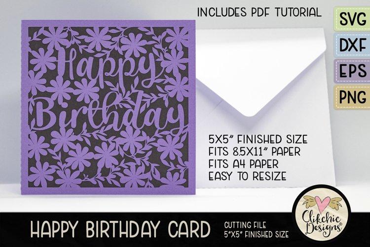 Floral Happy Birthday Card SVG - Birthday Card Cutting Files