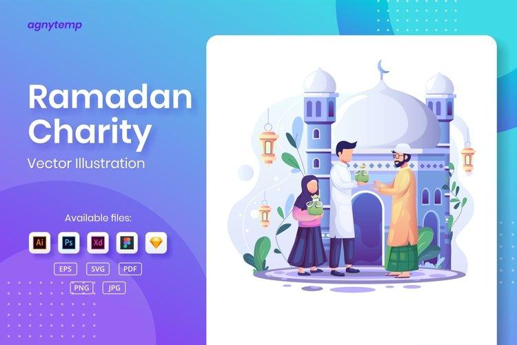 Ramadan Charity or Zakat concept flat Illustration example image 1
