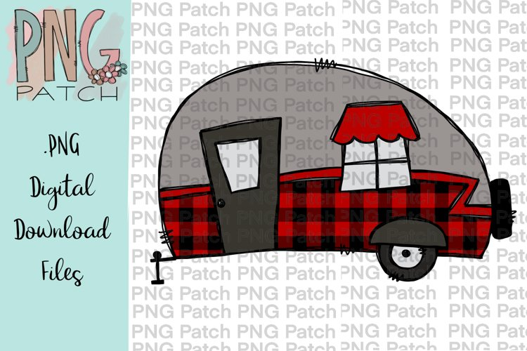 Red Buffalo Plaid Camper, Camping PNG File, Sublimation