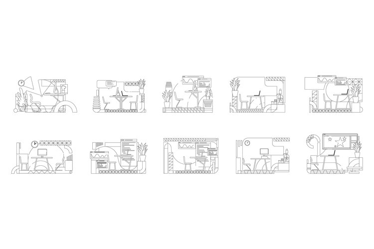 Office interior designs outline vector illustrations set example image 1