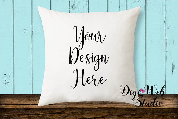 Pillow Mockup - Cottage Blue Pillow on Wood Bench example image 1