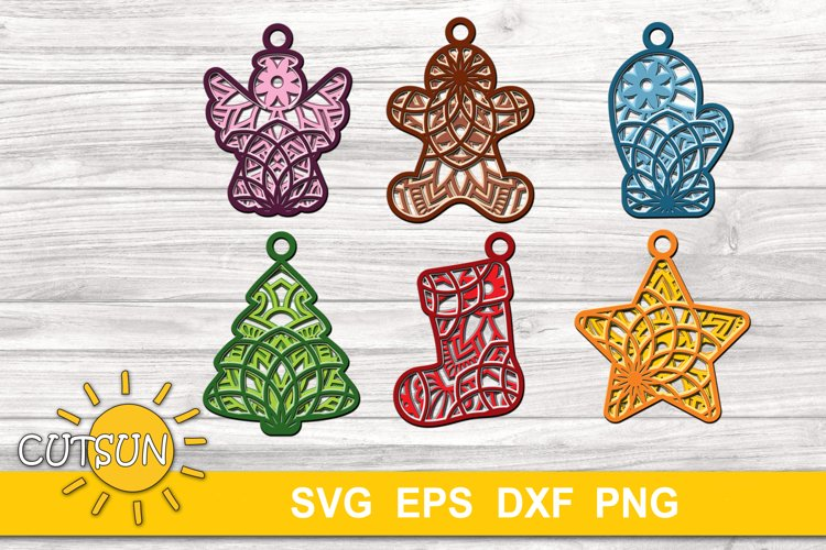 Christmas SVG | 3D Layered Christmas ornaments - 6 designs example image 1