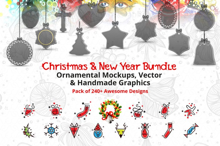 Christmas & New Year Bundle of Ornamental Mockups & Graphics example image 1