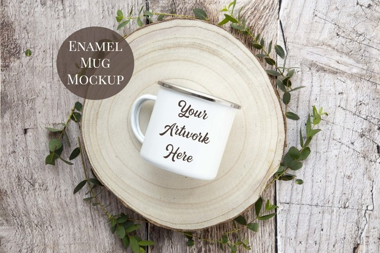 Enamel Mug Mockup- rustic wood