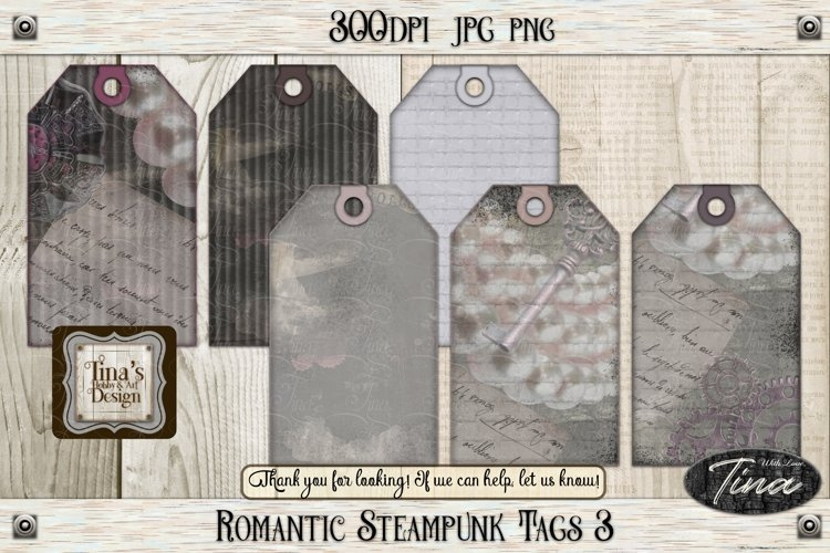 Romantic Steampunk Tags 3 Collage Mauve Grunge 101918RST3 example image 1