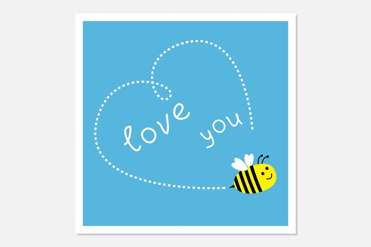 Flying bee. Dash heart in the sky. Love you. example image 1