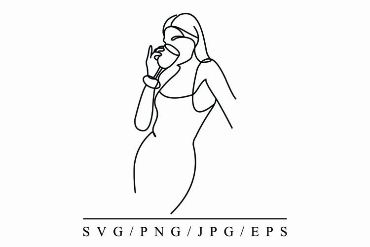 Woman Style Line Art Vector Template