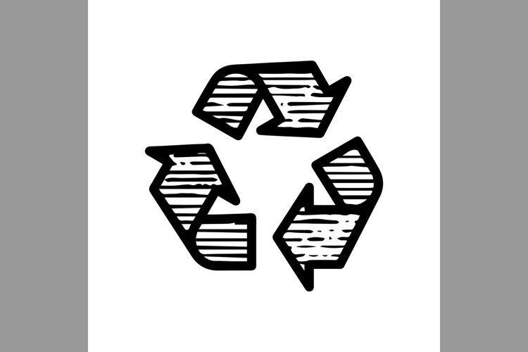 hand drawn recycle symbol line icon, Vector Illustration example image 1