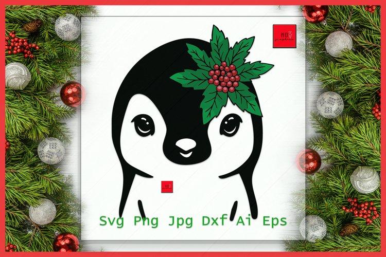 Penguin Santa hat svg file, Penguin with Hat svg, Christmas