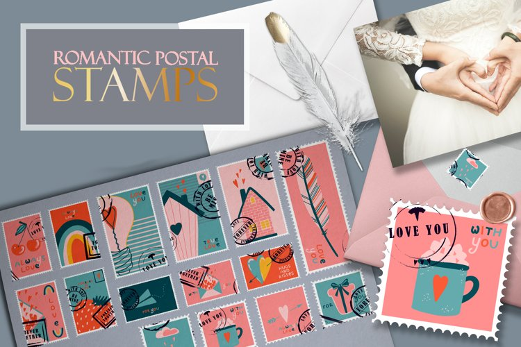 Postage stamps romantic for Valentine's Day BIG example image 1