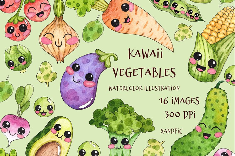 Kawaii Vegetables Clipart-watercolor . Cute vegetables example image 1