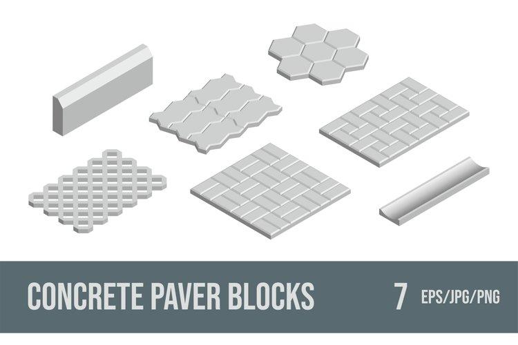 Set of vector illustrations concrete paver blocks.