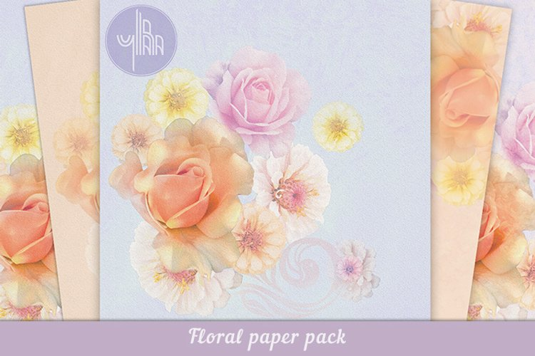 Floral digital paper pack, Backgrounds with flowers