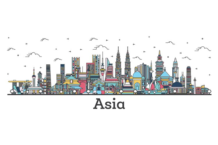 Asian Landscape. Outline Color Famous Landmarks in Asia. example image 1