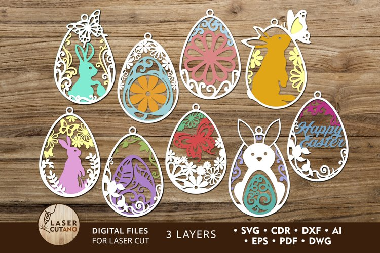 Multilayer Cut File Easter Tags Bundle for Cricut or Wood