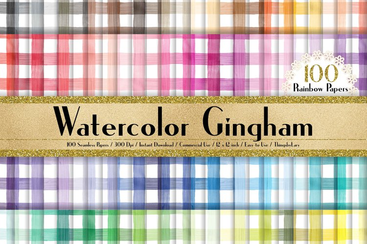 100 Seamless Watercolor Gingham Digital Papers 12 x 12 inch example image 1