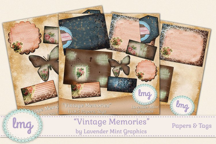 Vintage Memories Landscape Journal Papers and Tags